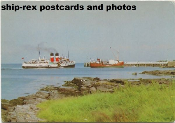 WAVERLEY (1947, Waverley Excursions) at Brodick, postcard